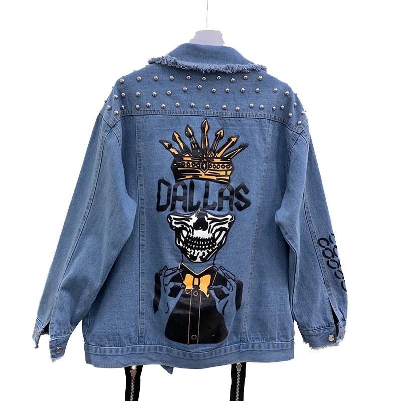 Handmade Beading Pearl Jacket Rips Detail Boyfriend Denim Jacket Hip Hop Harajuku Denim Jacket Printed Woman
