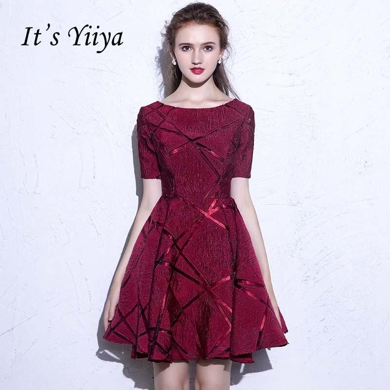 It's YiiYa New O-neck Short Sleeves Draped Vintage Knee Length Dinner   Bridesmaids     Dresses   Zipper Party Short Formal   Dress   YS033