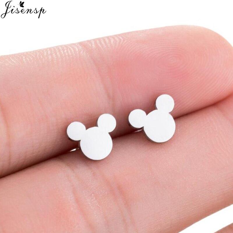 купить Jisensp Fashion Women Mickey Earrings Cartoon Mouse Stud Earrings Mother's Day Gift Cute Animal Small Earings aretes de mujer по цене 41.48 рублей
