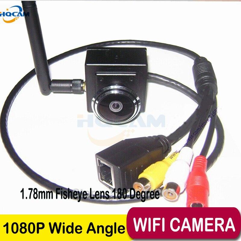 HQCAM 2.0 Mégapixels caméra ip wifi 1.78mm Fisheye Lentille H-264 Onvif 1080 p Sans Fil Wifi Intérieure Ip Caméra Réseau fisheye CAMÉRA