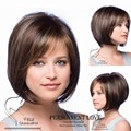 Brown hair blonde highlights straight short bob hair Wigs 2015 Heat Resistant synthetic u part wig side bangs for Women perruque