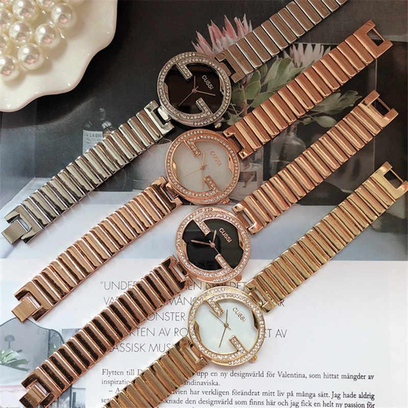 Cussi Relógio De Prata Strass Design Exclusivo Das Senhoras das Mulheres De Luxo Da Marca Pulseira Relógios Casual relógios de Pulso de Quartzo reloj mujer