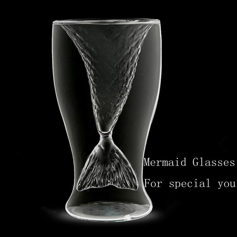100ml Crystal <font><b>Double</b></font> <font><b>Wall</b></font> Transparent Mermaid <font><b>Shot</b></font> <font><b>Glass</b></font> Borrelglas Heat-proof Mermaid Cup Cocktail Wine <font><b>Glass</b></font> Bar Party Cup