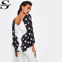 Sheinside Bow Back Polka Dot Blouse Womens Boat Neck Long Sleeve Casual Top With Bow 2017