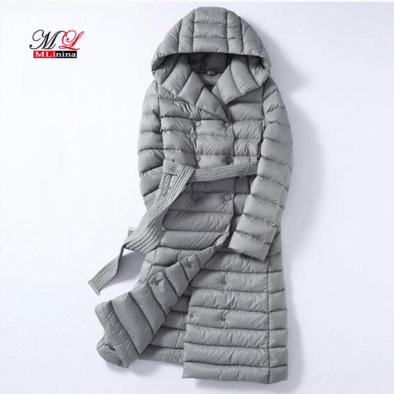 MLinina 2018 Winter Plus Size 3XL Long Womens Down Jackets Ultra Light Duck Down Hooded Coats Autumn Puffer   Parkas   Snow Outwear