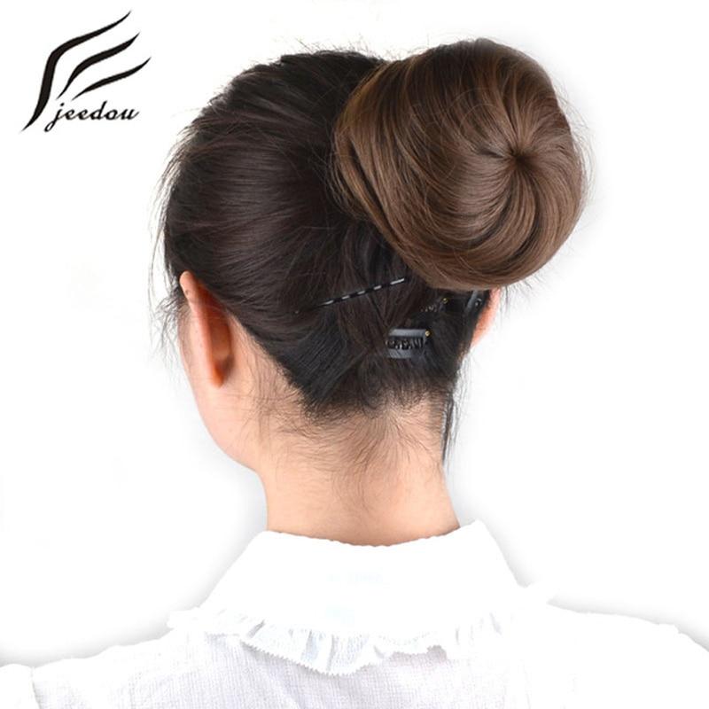 jeedou שיער סינתטי Chignon תמצית בלונדינית בצבע חום 30 גרם שיער לחמניות פאנד דונאט Chignon גומי Band Band Extensions