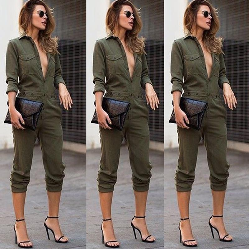Army Green Long Sleeves Turn-down Collar Buttons Closure Slim Playsuit Romper Jumpsuits for Women's Ladies S/M/L/XL