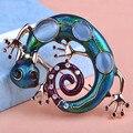 Grande Azul do Esmalte Esmaltes Kihen Lagarto Gecko Broches Corsage Enfeites de Diamante Broche De Casamento Coroa Relogio Feminino Vaz