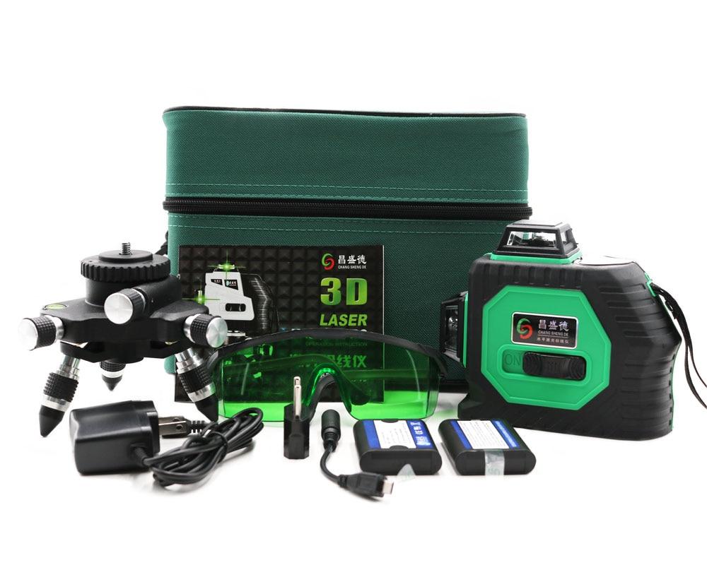 Professionale 12 Linea 3D laser level 360 Verticale E Orizzontale Laser Livello Self-leveling Linea Trasversale 3D Livello del Laser linea verde