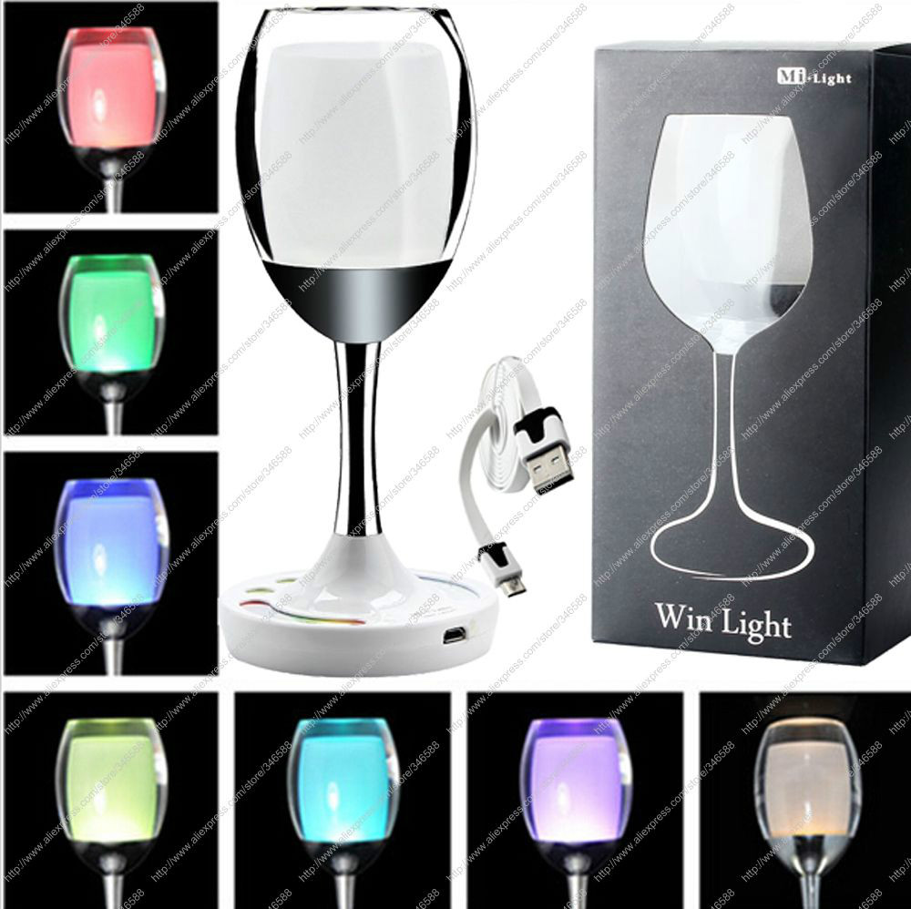 2.4G Wireless 2W Mi.light RGBW or RGBWW Win Light,Adjustable LED Night Lamp, Crystal Glass Wine Cup Style, WiFi Compatible customized crystal trophy engraved logo or words sports souvenirs grammy award glass champions rewards league cup