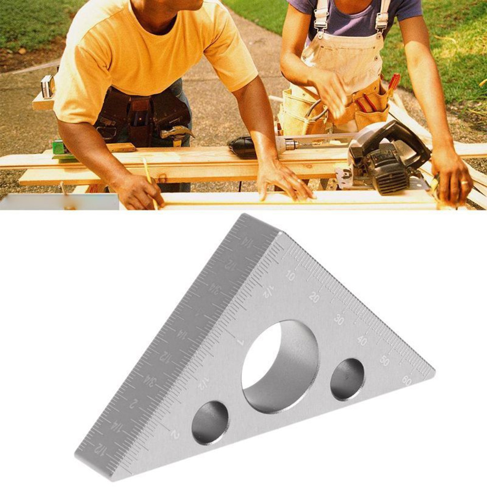 Portable Metric Inch Height Measure Triangle Ruler Clamping Tool Woodworking Small Torsion Resistance Aluminum Alloy Square