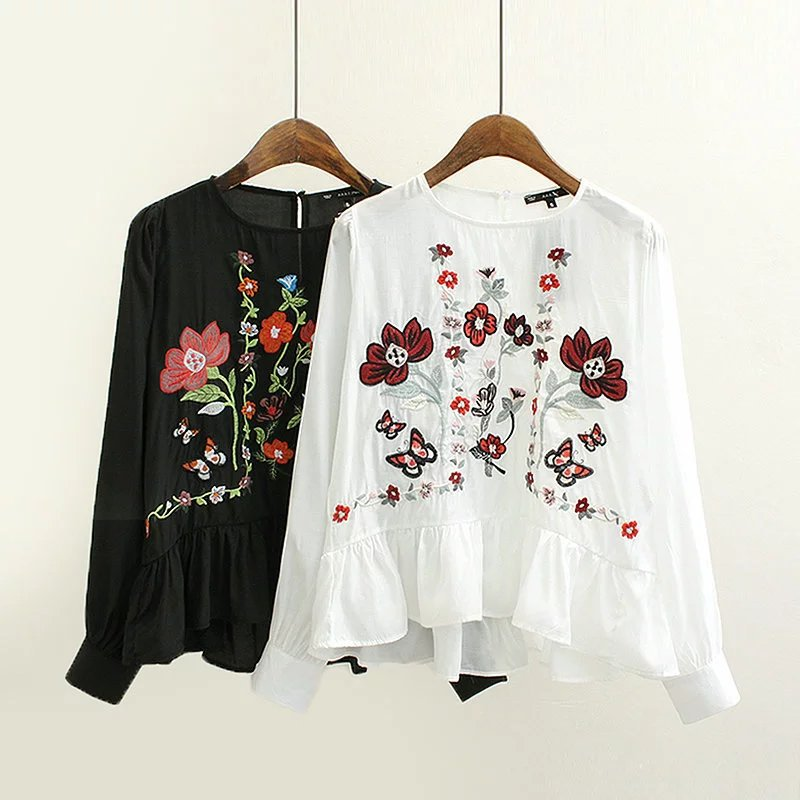 2017 spring ladies long sleeved font b blouse b font embroidered flowers bottoming shirt ruffles hem