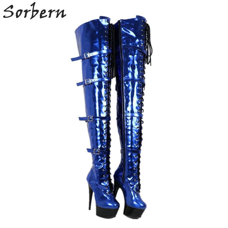 Sorbern Metallic Blauw Laarzen Stripper Pole Brede Kuit Dij Hoge Laarzen Drag Queen Hakken Vrouwen Maat 12 Schoenen Dikke hakken-in Over de knie laarzen van Schoenen op  Groep 3