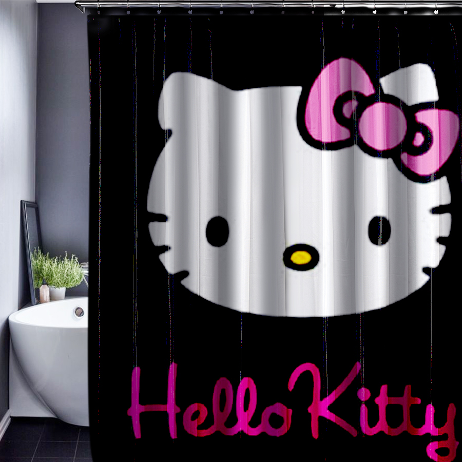 cartoon hello kitty mickey pattern shower curtain customized shower curtain waterproof fabric. Black Bedroom Furniture Sets. Home Design Ideas