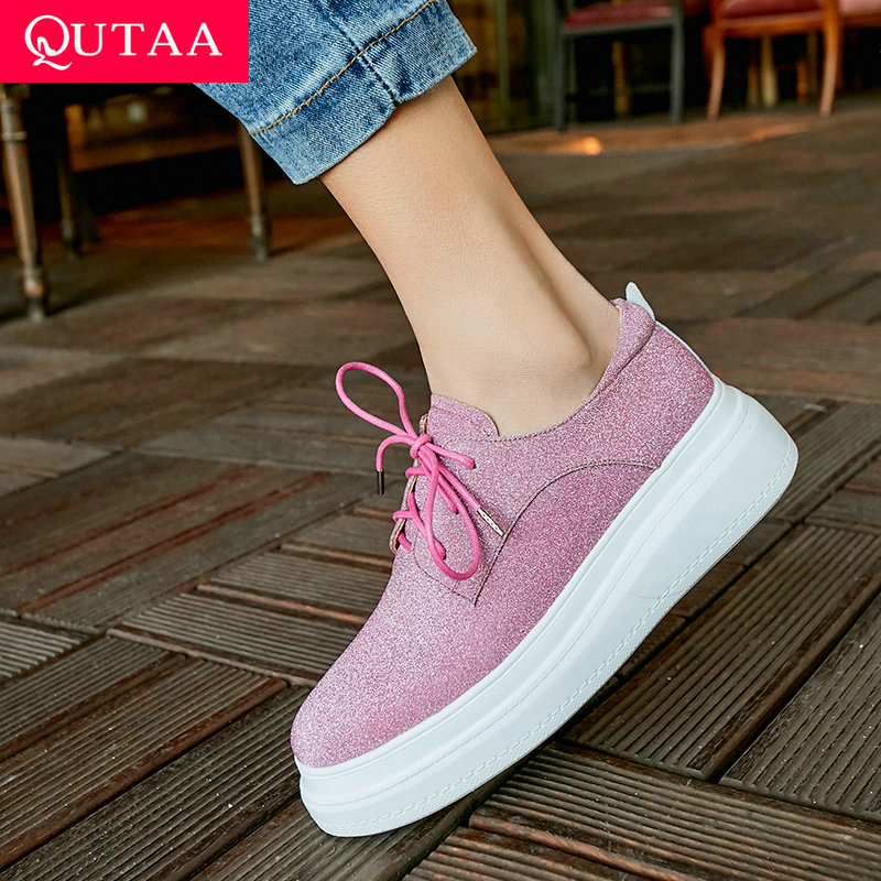 QUTAA 2019 Women Shoes Wedges Heel Platform Cow Leather+pu All Match Lace Up Casual Spring Fashion Women Pumps Size 34-40QUTAA 2019 Women Shoes Wedges Heel Platform Cow Leather+pu All Match Lace Up Casual Spring Fashion Women Pumps Size 34-40