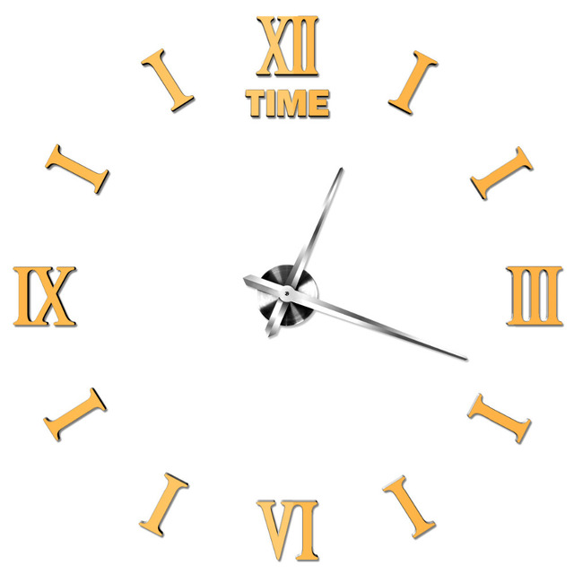 *2017 Roman Digital Clock Acrylic Mirror Panel Quartz Movement Wall Clock Bell Metal Shell Material DIY Clock
