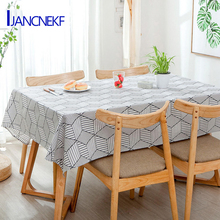 Free Shipping Tablecloth Nordic Geometric Grid Pattern Wedding Living Room Table Decoration Linen