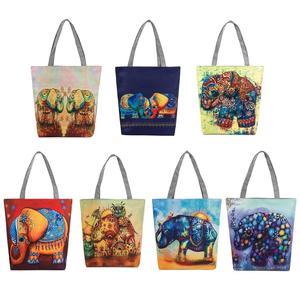 a71d91a5b74 THINKTHENDO Shopping Bags Canvas Handbags Women Printing