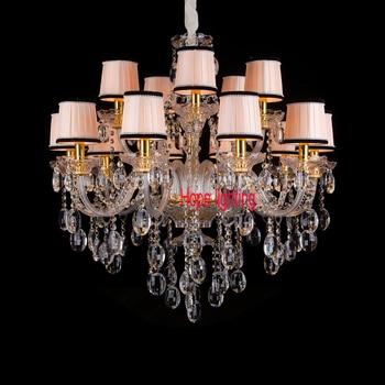 Modern crystal chandelier với vải chụp đèn màu vàng sang trọng ánh sáng đèn chùm đối parlour phòng phòng khách đèn chùm mel nhà