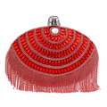 Egg Shaped Women Evening Bags Tassel Rhinestones Day Clutches Acrylic Luxurious Evening Bags With Handle Purse Bag