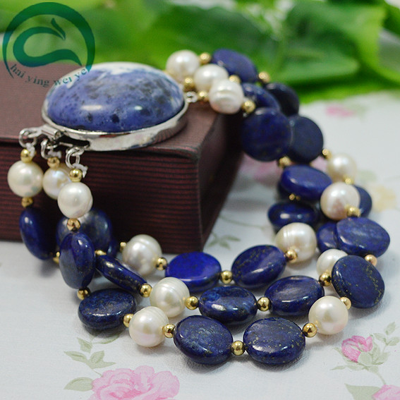 Unique 100% Natural Freshwater Pearl Bracelet 3 Rows AA 4-10MM Blue Lapis Gold Plated Beads White Pearl Jewellery Women Fine JewUnique 100% Natural Freshwater Pearl Bracelet 3 Rows AA 4-10MM Blue Lapis Gold Plated Beads White Pearl Jewellery Women Fine Jew