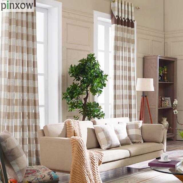 Cortinas para sala de estar bege xadrez cortinas para quarto sala de jantar moderna custom made - Tende per sala moderna ...