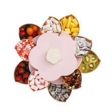 2019 Petal-Shape Rotating Snack Box Candy Tray Food Storage Wedding Plates Double-deck Dried Fruit Organizer