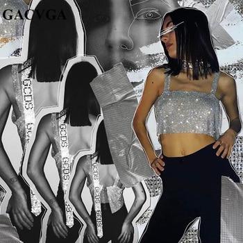 GACVGA 2020 Glitter Women Rhinestone Party Tank Tops Summer Beach Crystal Bustier Crop Top Sexy Diamonds Nightclub T-Shirt Camis 2