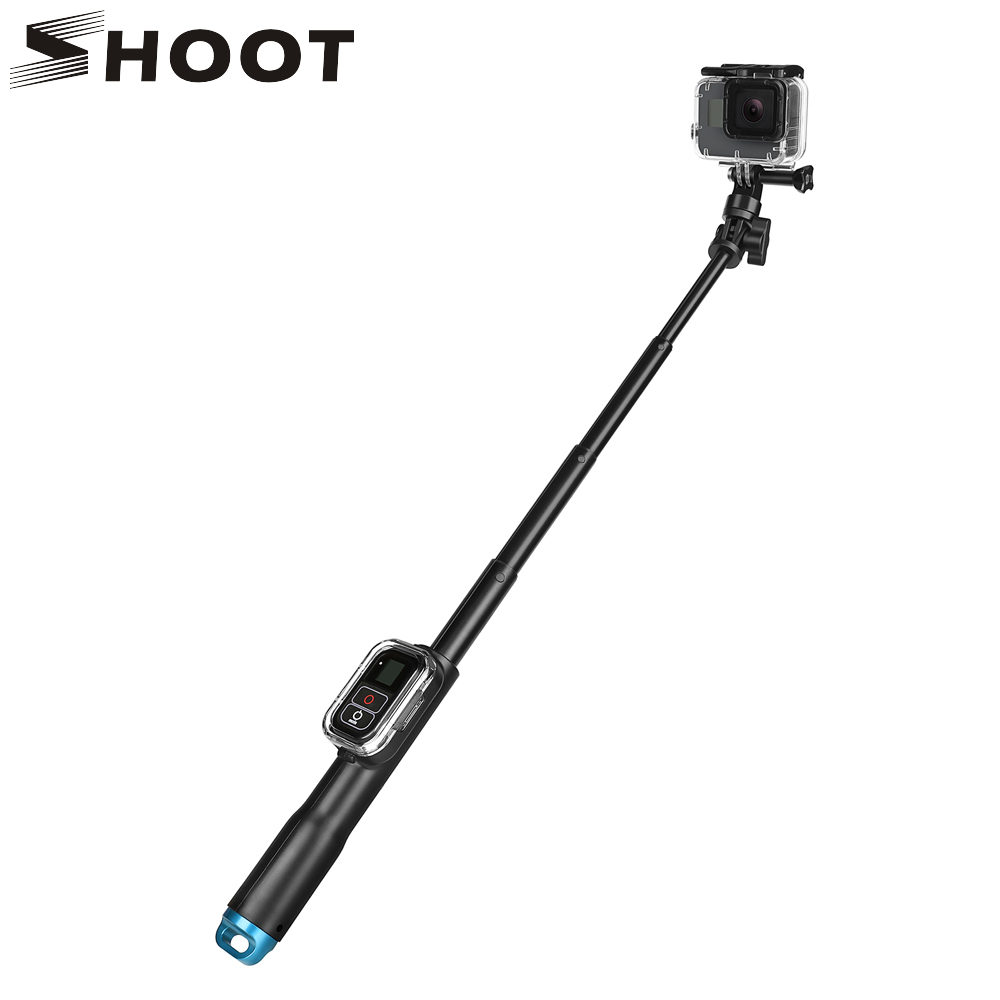 SHOOT 39 Inch Waterproof Selfie Stick for Gopro Hero 5 6 4 3 Session Camera With WIFI Remoter Clip For Go Pro Monopod Accessory