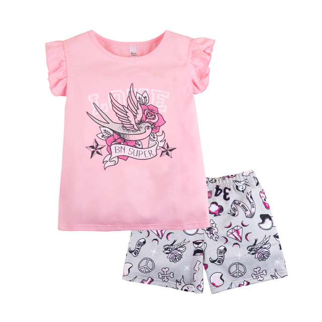 Пижама футболка+шорты для девочки 'Тату' BOSSA NOVA 383Б-161а