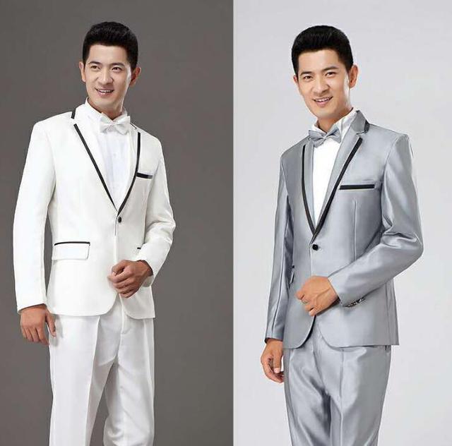 e41fbf6dd0a3 Blazer men formal dress latest coat pant designs suit men costume masculino  trouser marriage wedding suits for men's white grey