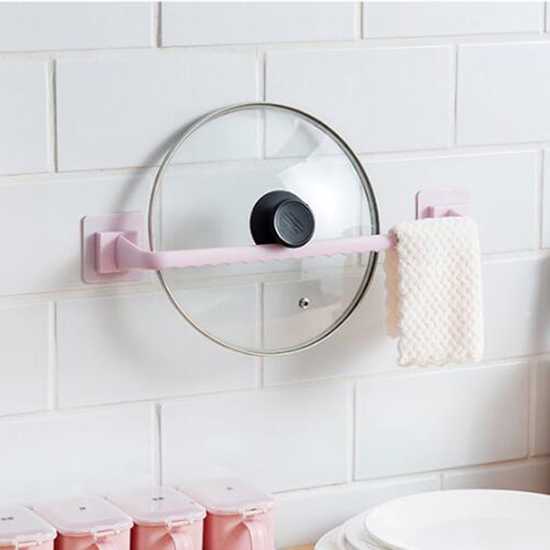 Self Adhesive Hook Bathroom Towel Bar Plastic Bath Wall Rack Hanging Towel Rod Stick On Sticky Hanger Bathroom Tools Accessories