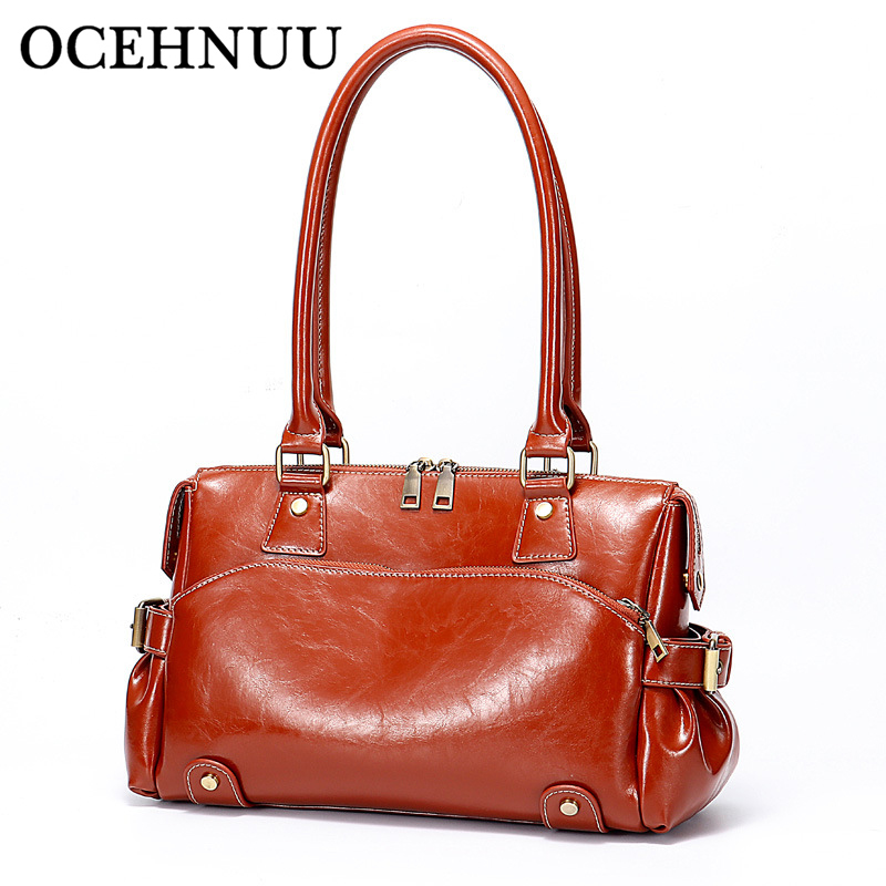 OCEHNUU Vintage Shoulder Bags Female Real Genuine Leather Zipper Luxury Handbags Women Designer Bolsos Mujer Messenger