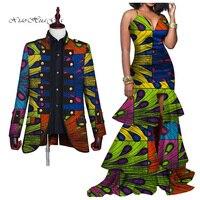 2019 New Elegant Women Mermaid Dresses Couples Clothing African Print Dresses Plus Size Dashiki Mens Blazer for Lover WYQ277