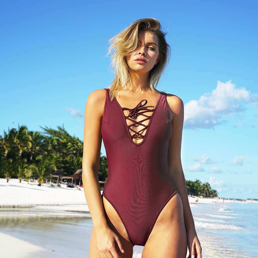 CUPSHE Be An Optimist Lace Up One-piece Swimsuit Women Summer Sexy Swimsuit Ladies Beach Bathing Suit swimwear