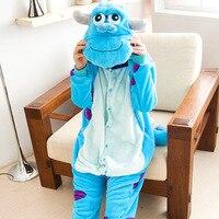 Winter Pajama Sets Cartoon Cotton Sleepwear Women Pajama Adult Hooded Onesie Flannel Animal Pajama Blue Sullivan
