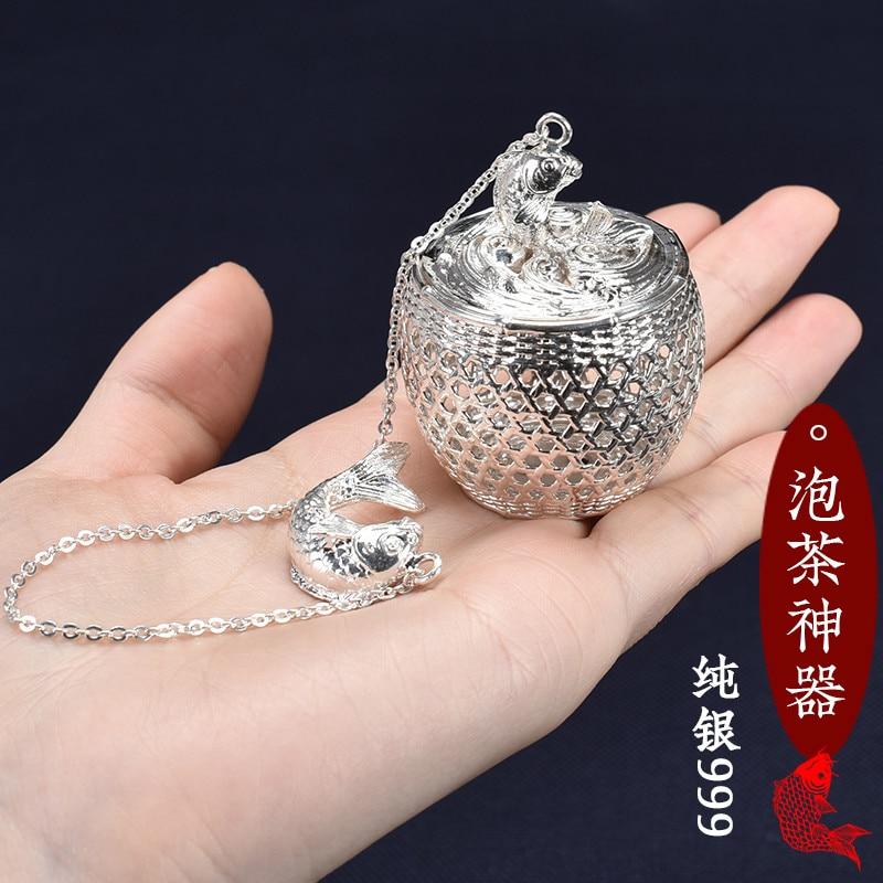 Ev ve Bahçe'ten Çay Takımı Setleri'de Yeni S999 gümüş top çay Dip Net filtre kanca ile gevşek çay baharat topu halat zincir ile ev mutfak gereçleri title=