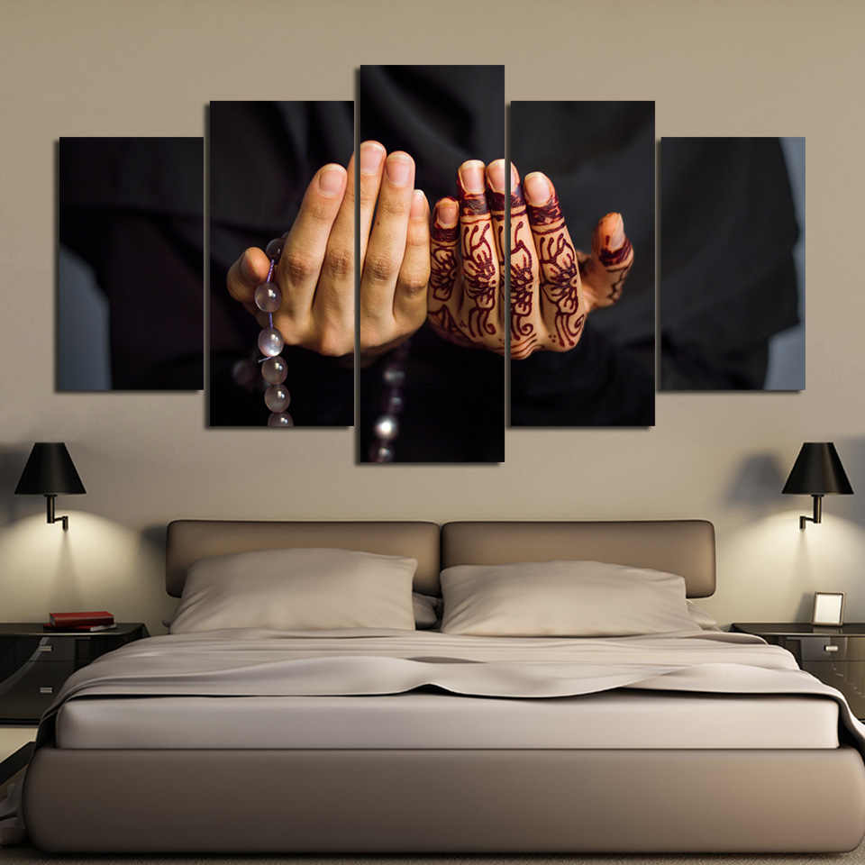 Art Framework Decor Modern Living Room Wall 5 Pieces Islam Scripture On Hands Paintings Printing Posters Modular Canvas Pictures