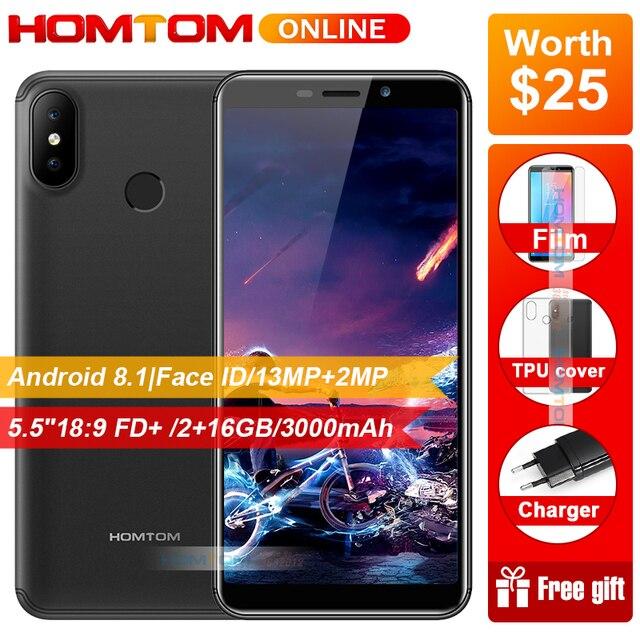 "Original HOMTOM C2 5.5"" 18:9 HD+ 4G Smartphone Android 8.1 2GB RAM 16GB ROM Quad Core Face ID Dual Back Cameras Mobile Phones"