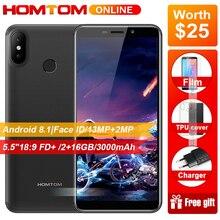 Оригинальный HOMTOM C2 5,5 «18:9 HD + 4G смартфон Android 8,1 4 ядра 2 Гб Оперативная память 16 Гб Встроенная память Face ID 3000 mAh мобильный телефон