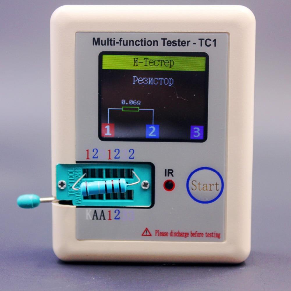 Русский Многофункциональный тестер транзисторов TC1 TFT измеритель емкости диода триода LCR ESR NPN PNP MOSFET ИК-измеритель
