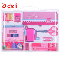 Deli Stationary Set Student Learning Stationery Pencil Pen/Scissors School Supplies Educational Christmas Kids Gifts 1Set=8PCS
