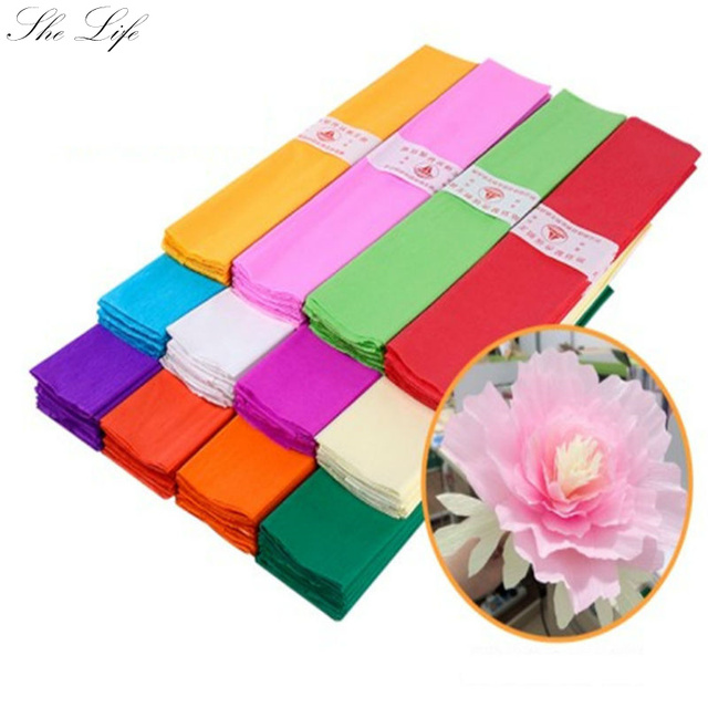 3 Sheets Diy Flower Crinkled Crepe Paper Craft Solid Color Wrinkle