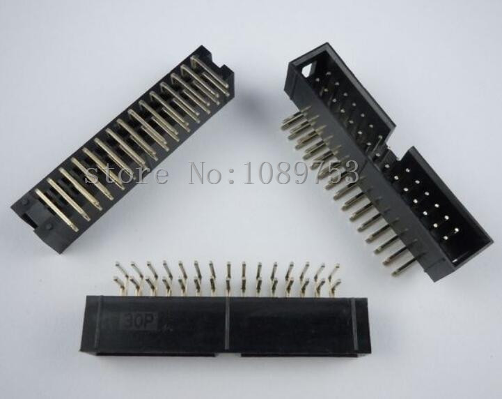 50pcs 2 54mm 2x15 30 Pin Right Angle Male Shrouded PCB Box Header IDC Connector