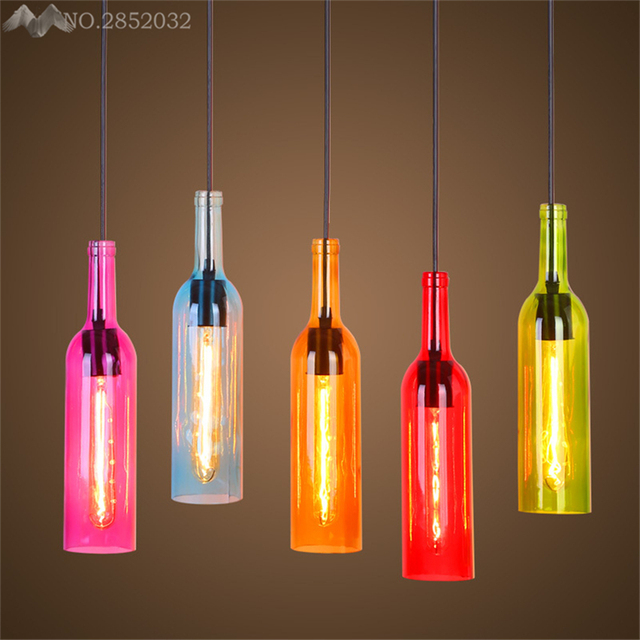 JW_Modern Creative Colorful Wine Bottle Pendant Lamp Glass Pendant Lights  For Living Room Bedroom Bar Lighting