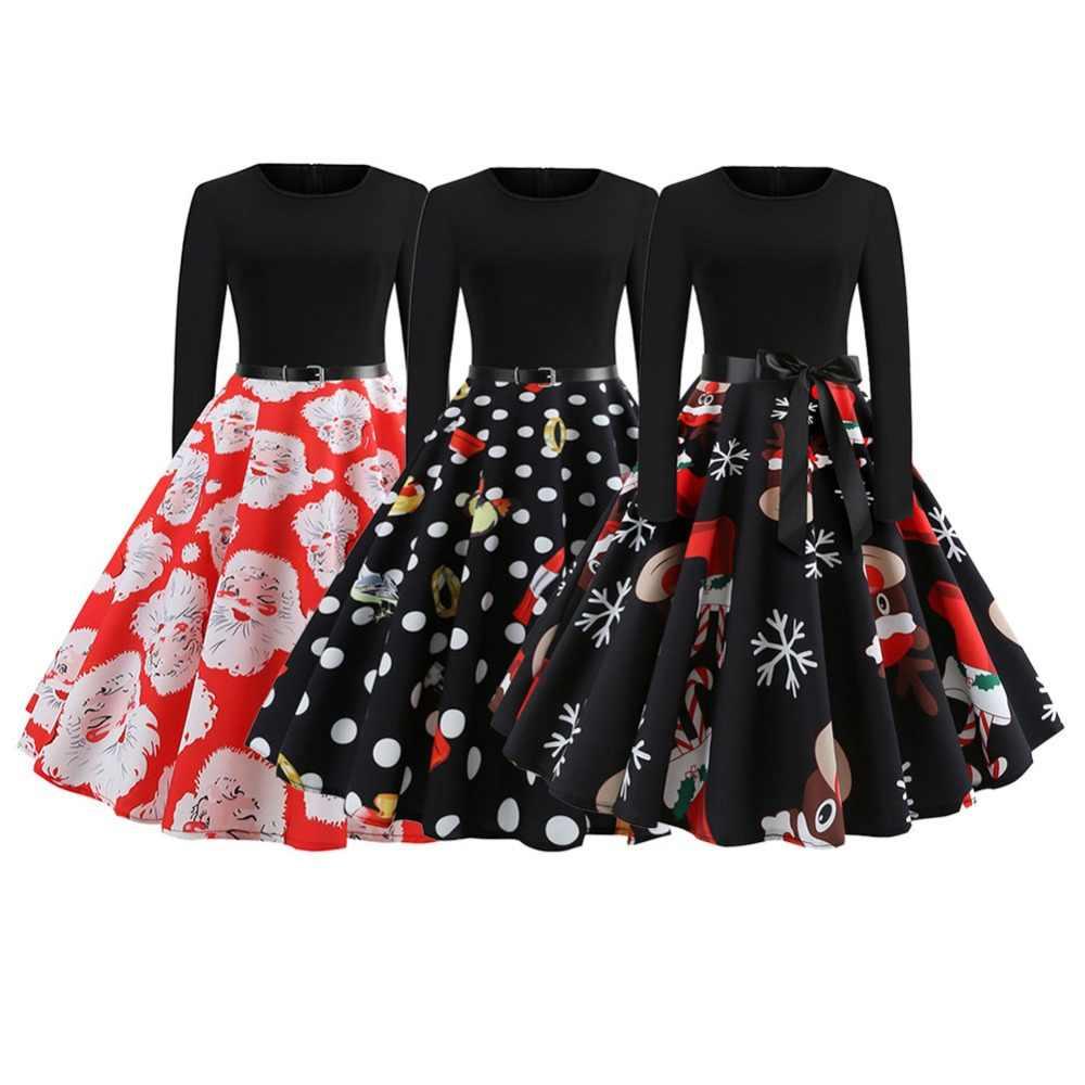 469c67477f9 Новое Осеннее женское рождественское винтажное платье в европейском и  американском стиле с принтом