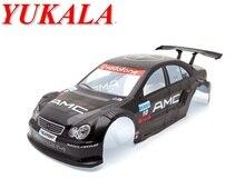 YUKALA 1/10 RC car parts 1:10 R/C car body shell 200mm black No 014BK free shipping