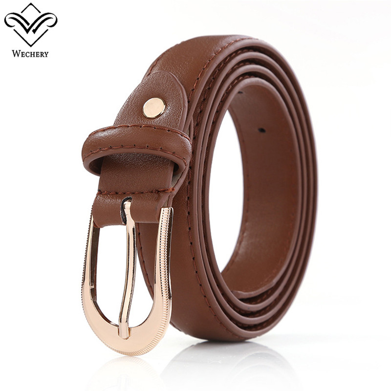 Wechery Long Plus Size Belt for Women Faux Leather Champagne Metal Pin Buckles Straps Solid 2018 Hot High Quality Waistbelt