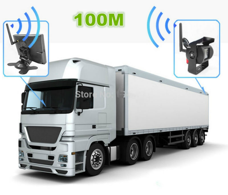 "7/"" Monitor Digital Wireless Reversing IR CCD Camera For Caravan Truck Van RV Kit"