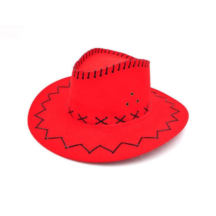 100pcs/lot Wide Brim Cowboy Hat Suede Look Wild West Fancy Dress Men Girls Solid Colors Gorros Cap Women's Hats Chapeau Femme 15